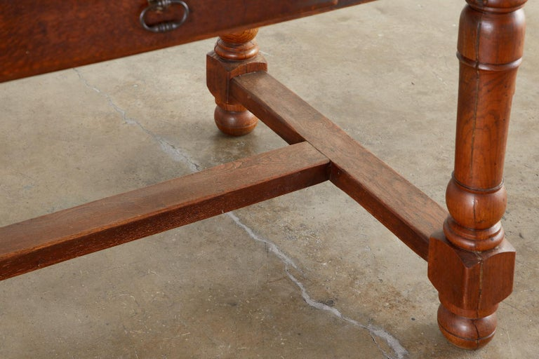 19th Century French Provincial Oak Trestle Farmhouse Dining Table For Sale 8