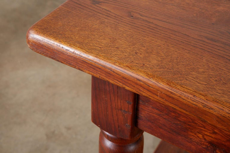 19th Century French Provincial Oak Trestle Farmhouse Dining Table For Sale 10