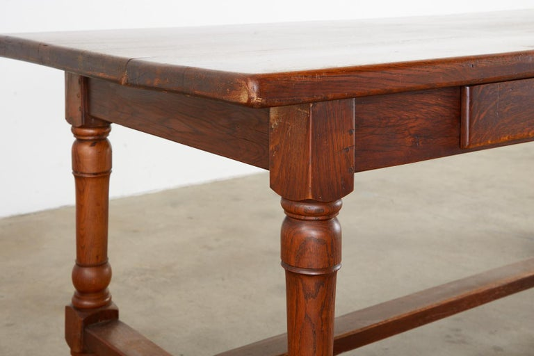 19th Century French Provincial Oak Trestle Farmhouse Dining Table For Sale 11