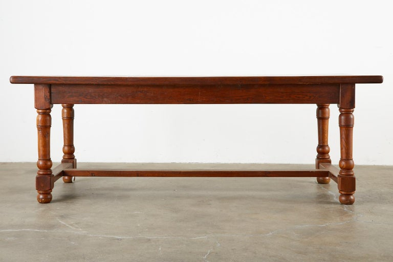 19th Century French Provincial Oak Trestle Farmhouse Dining Table For Sale 15