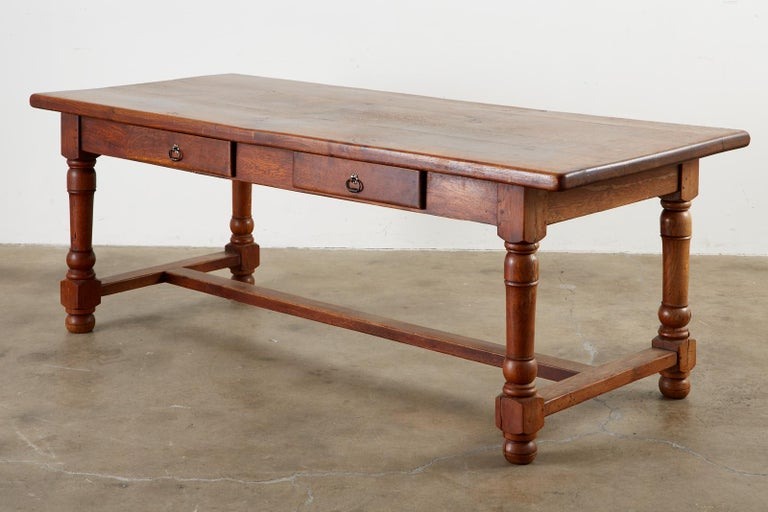 Hand-Crafted 19th Century French Provincial Oak Trestle Farmhouse Dining Table For Sale