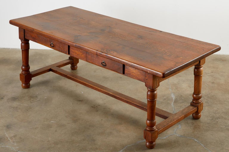 19th Century French Provincial Oak Trestle Farmhouse Dining Table In Good Condition For Sale In Rio Vista, CA
