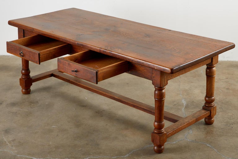 Iron 19th Century French Provincial Oak Trestle Farmhouse Dining Table For Sale