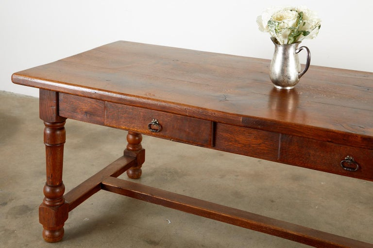 19th Century French Provincial Oak Trestle Farmhouse Dining Table For Sale 1