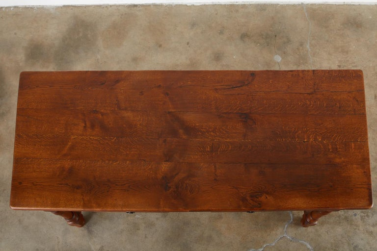 19th Century French Provincial Oak Trestle Farmhouse Dining Table For Sale 2