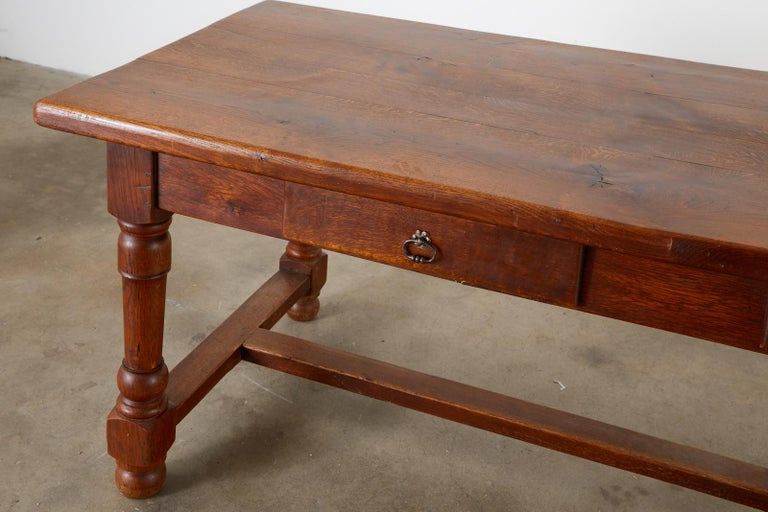 19th Century French Provincial Oak Trestle Farmhouse Dining Table For Sale 3