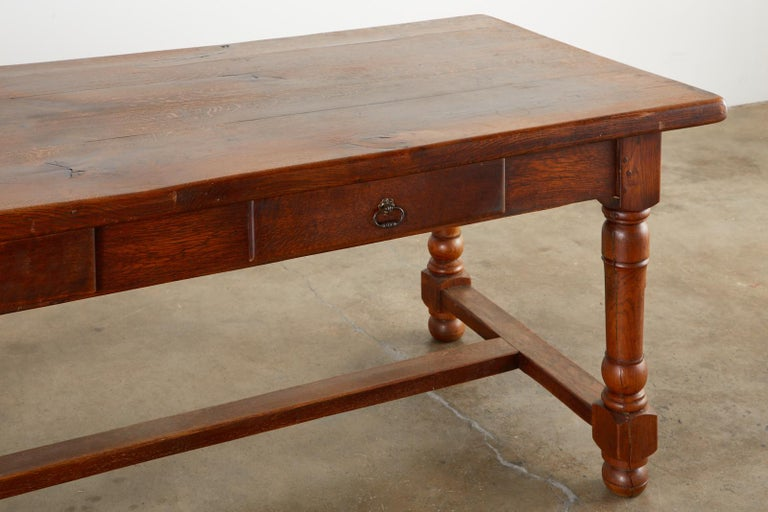 19th Century French Provincial Oak Trestle Farmhouse Dining Table For Sale 4