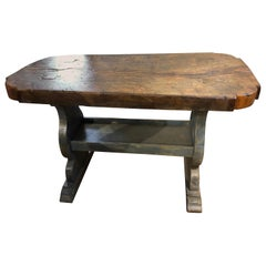 19th Century French Provincial Rustic Table with Trestle Base