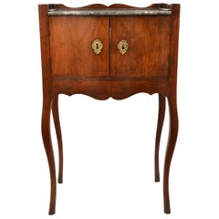 19th Century French Provincial Walnut Petite Two Door Marble Top Commode