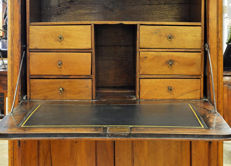 Wood 19th Century French Provincial Walnut Secretary Desk or Secretaire a Abattant For Sale