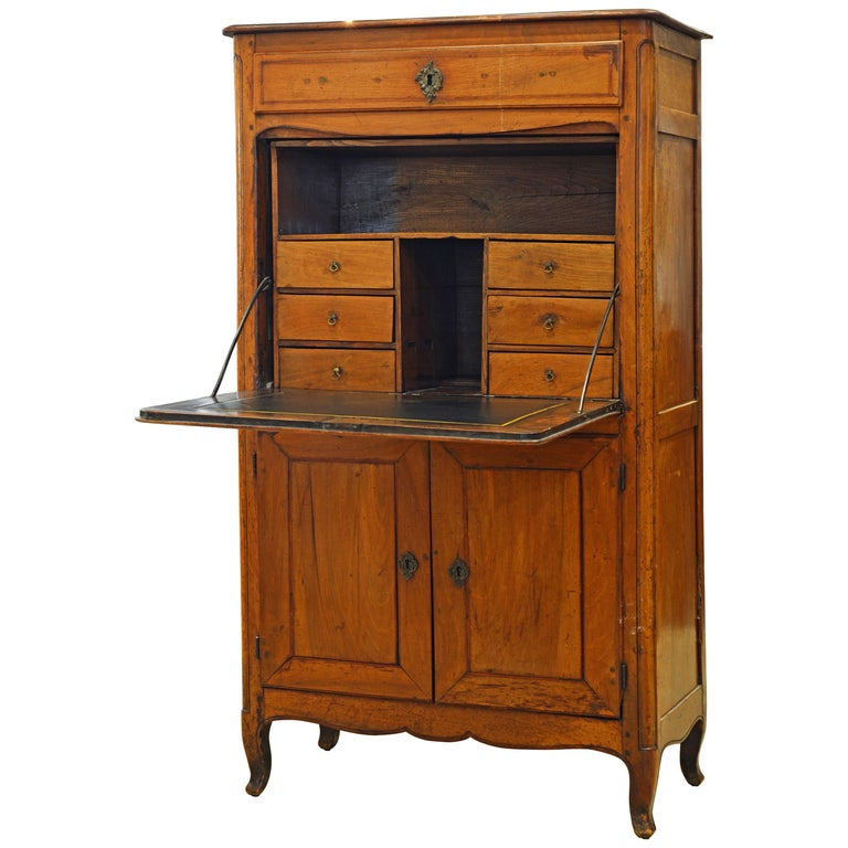 19th Century French Provincial Walnut Secretary Desk or Secretaire a Abattant For Sale