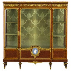 19th Century, French Wood Vitrine with Gilt Bronze