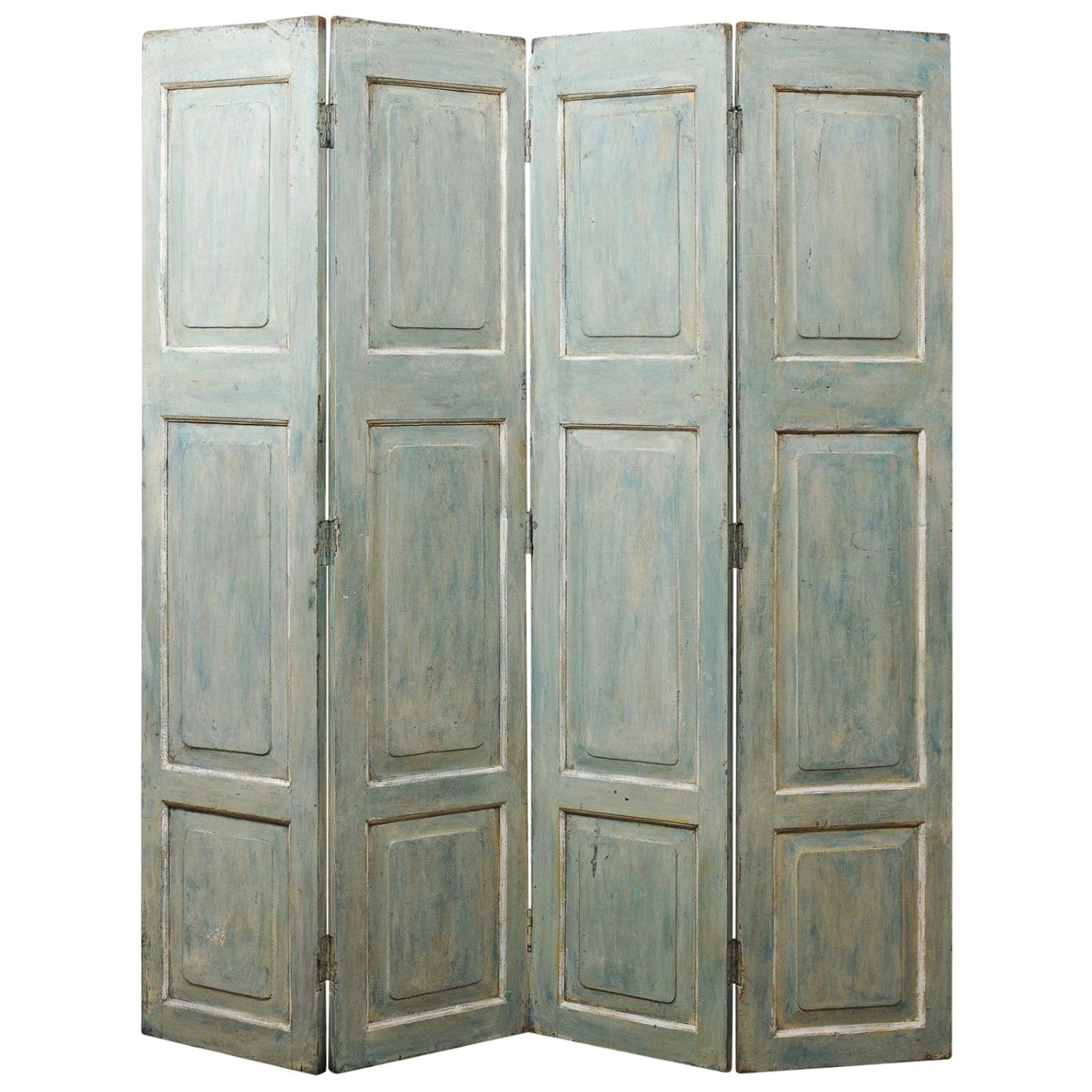 19th Century French Raised Panel Painted Wood Folding Screen Room Divider