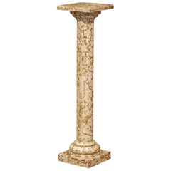 19th Century French Red and Beige Marble Pedestal Column with Square Swivel Top