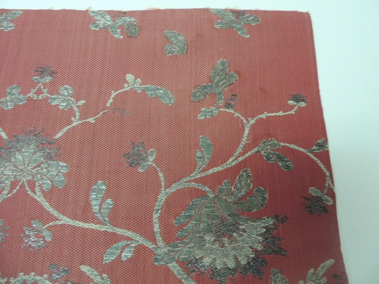 Regency 19th Century French Red and Silver Silk Embroidered Textile Panel For Sale