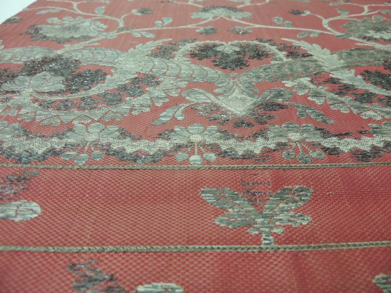 Hand-Crafted 19th Century French Red and Silver Silk Embroidered Textile Panel For Sale