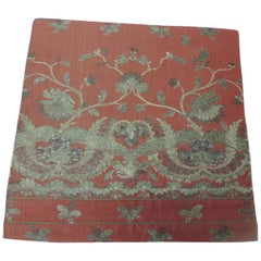 French Red and Silver Silk Embroidered Textile Panel