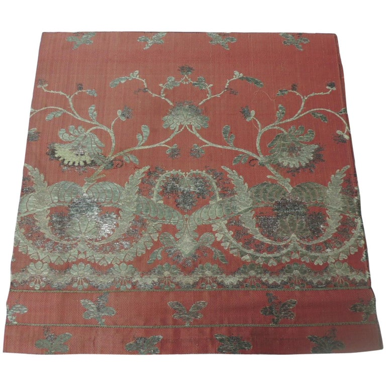 19th Century French Red and Silver Silk Embroidered Textile Panel For Sale
