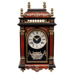 19th Century French Red Tortoiseshell & Pewter Clock by Marti of Paris