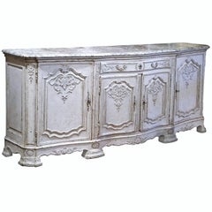 19th Century French Regence Carved Painted Four-Door Buffet with Faux Marble Top
