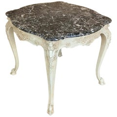19th Century French Regence Painted Marble-Top Table