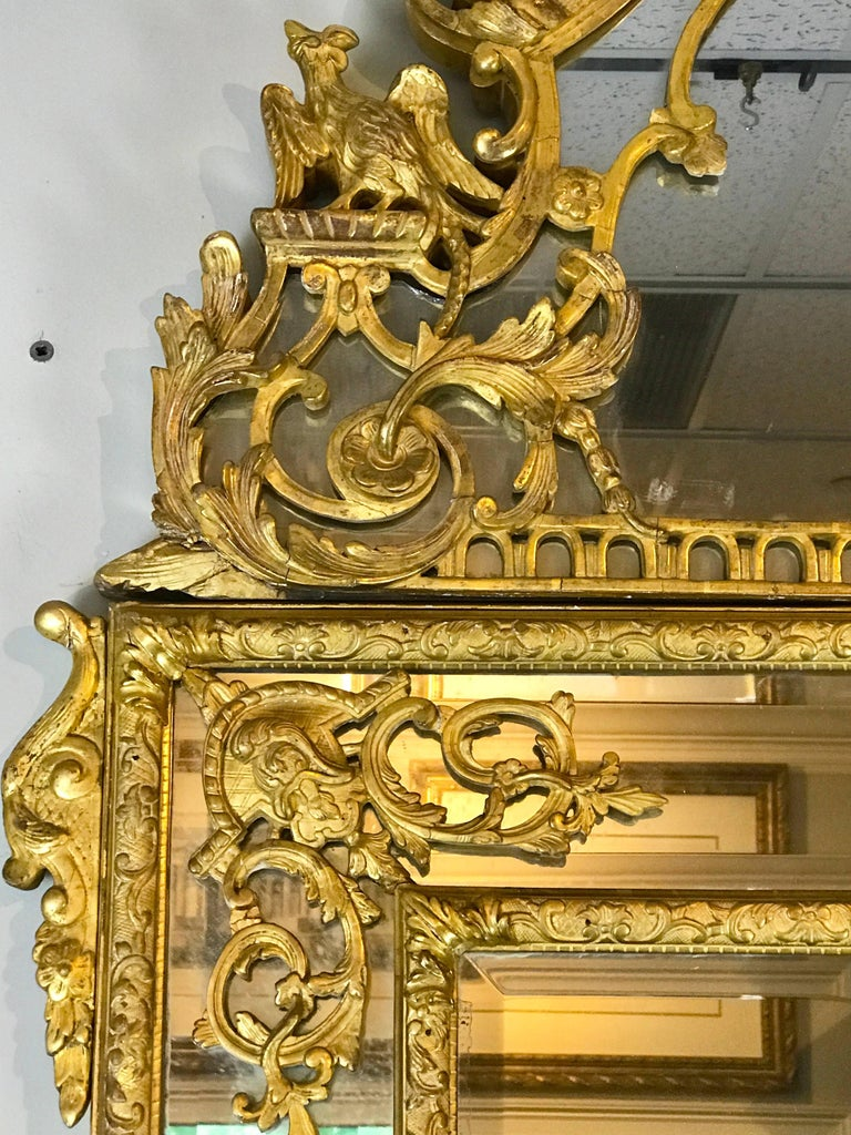 19th Century French Regence Style Giltwood Mirror In Good Condition In Atlanta, GA