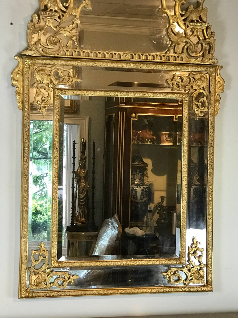19th Century French Regence Style Giltwood Mirror 3