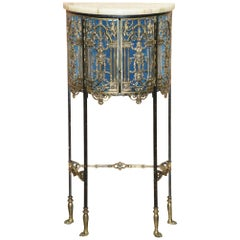 19th Century French Regency Brass Cast Heraldic Regal Lions Side Table Demilune