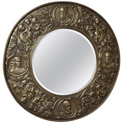 19th Century French Renaissance Embossed and Repousse Brass Mirror