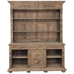 19th Century French Renaissance Stripped Oak Bookcase