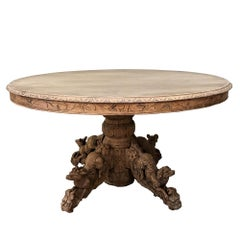 19th Century French Renaissance Stripped Oak Oval Hunt Table