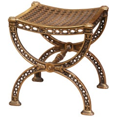 19th Century French Renaissance Style Bronze Dore Curule Vanity Stool