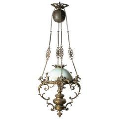 19th Century French Renaissance Style Bronze Oil Pendant Lamp