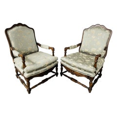 19th Century French Renaissance Throne Arm Chair, Pair