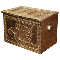 19th Century French Repousse Brass and Wood Box with Sailboat Decor