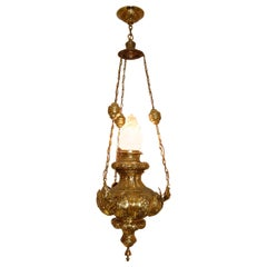 19th Century French Repoussé Brass Oil Lantern Chandelier with Angels