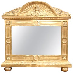 19th Century French Repousse Brass Wall Mirror with Cherub Face Decor