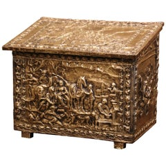 19th Century French Repousse Brass and Wood Box with Pastoral Scenes Decor