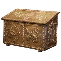 19th Century French Repousse Copper and Wood Box with Tavern Scenes