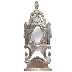 19th Century French Repousse Silver Plated and Copper Overlay Wall Mirror