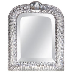 19th Century French Repousse Silver Table Mirror with Beveled Glass