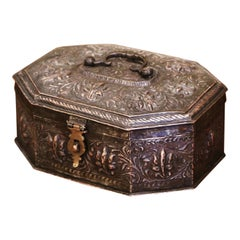 19th Century French Repousse Silvered Metal Spice or Jewelry Box