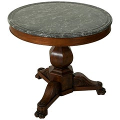 19th Century French Restauration Period Mahogany Gueridon Pedestal Table, Marble