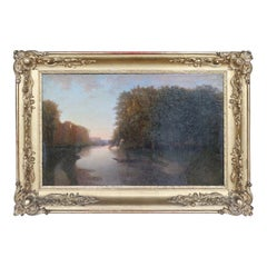 19th Century French River Landscape with Golden Frame