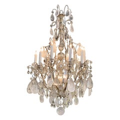19th Century French Rock Crystal 12-Light Chandelier