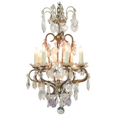 19th Century French Rock Crystal and Amethyst Chandelier