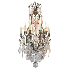 19th Century French Rock Crystal and Rose Quartz Chandelier