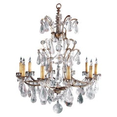 19th Century French Rock Crystal Chandelier, Now Surface Wired