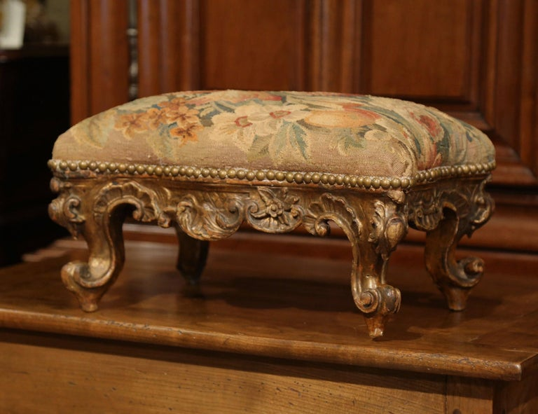 19th Century French Rococo Carved Gilt Wood Footstool With