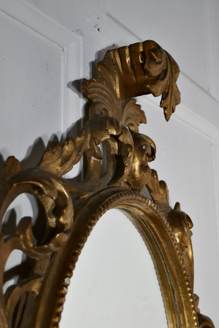 19th Century French Rococo Gilt Wall Mirror For Sale 4